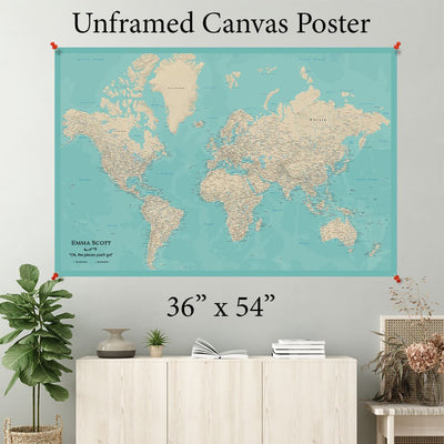 Teal Dream World Canvas Map Poster 36 x 54