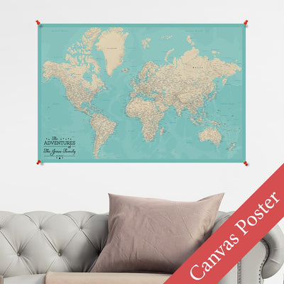 Teal Dream World Canvas Map Poster