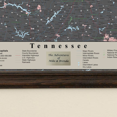 Earth Toned Tennessee Framed Pinboard Map Plaque Location