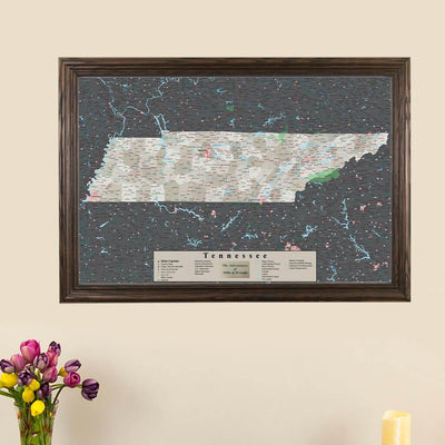 Earth Toned Tennessee Framed Pinboard Map main picture