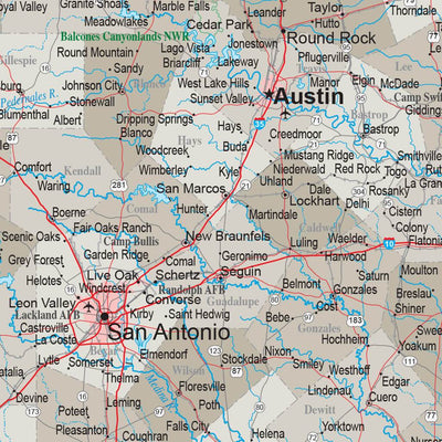 Earth Toned Texas Push Pin Travel Map closeup