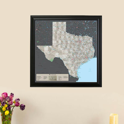 Earth Toned Texas Push Pin Map main picture