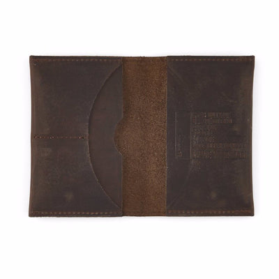 Open Dark Brown Leather Travel Wallet