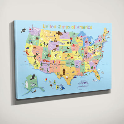 Side View of Gallery Wrapped Canvas Kids USA map