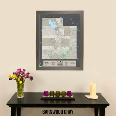 Earth Toned Utah State Pin Map Barnwood Gray Frame