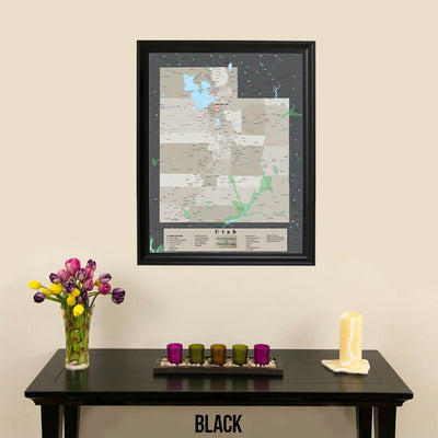 Earth Toned Utah State Pin Map Black Frame