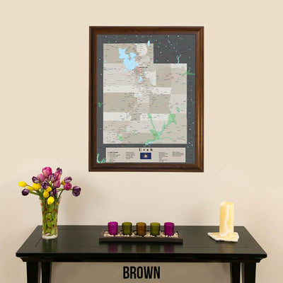 Earth Toned Utah State Pin Map Brown Frame