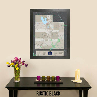 Earth Toned Utah State Pin Map Rustic Black Frame