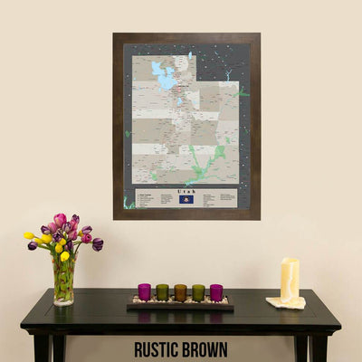 Earth Toned Utah State Pin Map Rustic Brown Frame