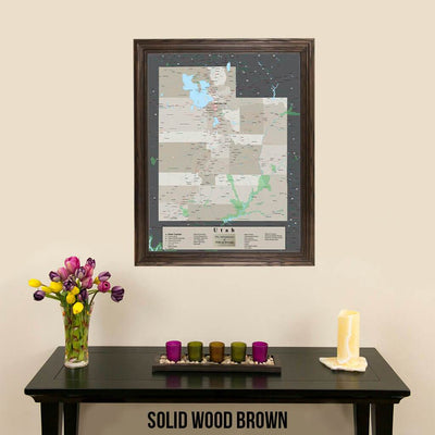 Earth Toned Utah State Pin Map Solid Wood Brown Frame