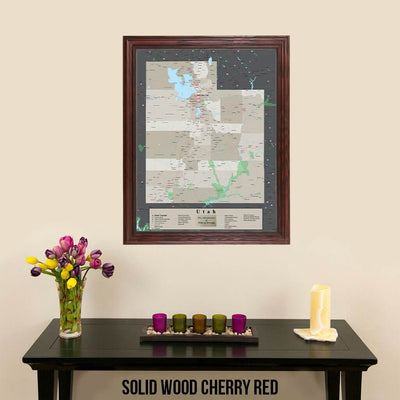 Earth Toned Utah State Pin Map Solid Wood Cherry Frame