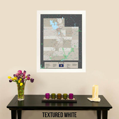 Earth Toned Utah State Pin Map Textured White Frame