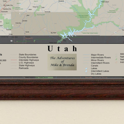 Earth Toned Utah State Pin Map Plaque Location