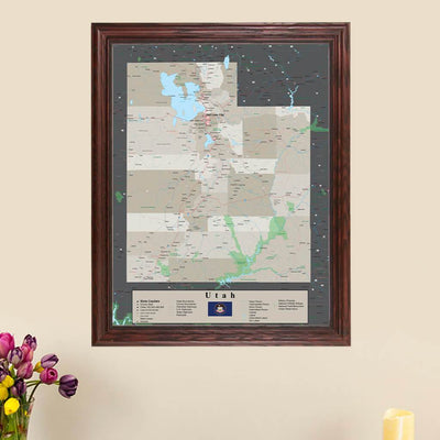 Earth Toned Utah State Pin Map main picture