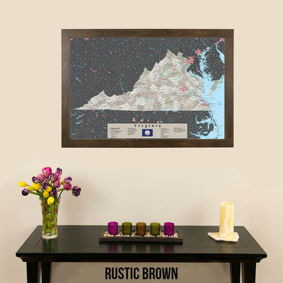 Earth Toned Virginia Travel Map with Pins Rustic Brown Frame