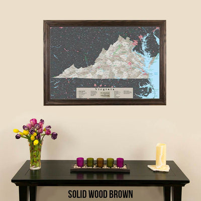 Earth Toned Virginia Travel Map with Pins Solid Wood Brown Frame