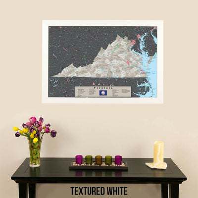 Earth Toned Virginia Travel Map with Pins Textured White Frame