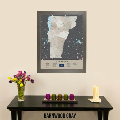 Earth Toned Vermont State Framed Map Barnwood Gray Frame