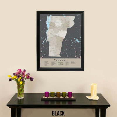 Earth Toned Vermont State Framed Map Black Frame