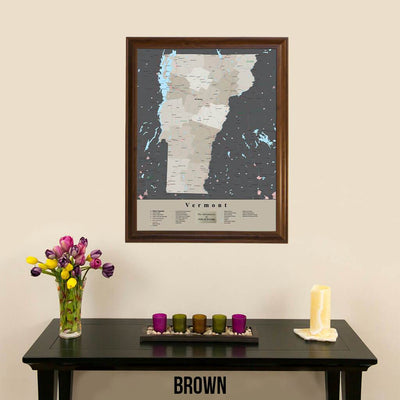 Earth Toned Vermont State Framed Map Brown Frame