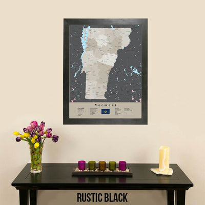 Earth Toned Vermont State Framed Map Rustic Black Frame