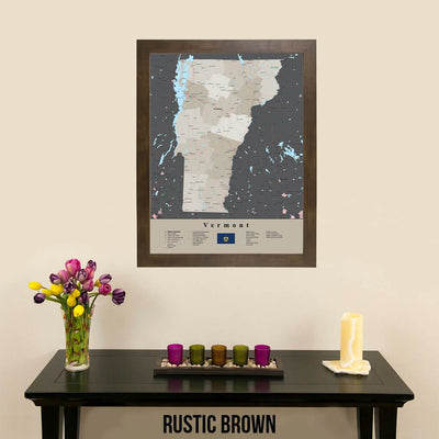 Earth Toned Vermont State Framed Map Rustic Brown Frame