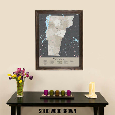 Earth Toned Vermont State Framed Map Solid Wood Brown Frame