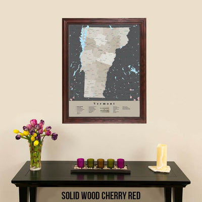 Earth Toned Vermont State Framed Map Solid Wood Cherry Frame