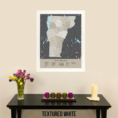 Earth Toned Vermont State Framed Map Textured White Frame