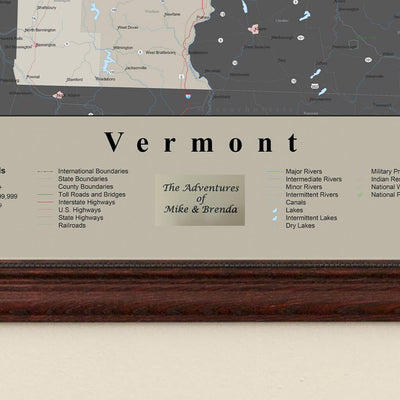 Earth Toned Vermont State Framed Map Plaque Location