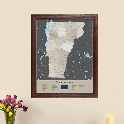 Earth Toned Vermont State Framed Map main picture