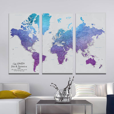 3 Panel - Vibrant Violet Large World Travel Pin Map