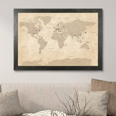 Vintage World Pin Map with Rustic Black Frame