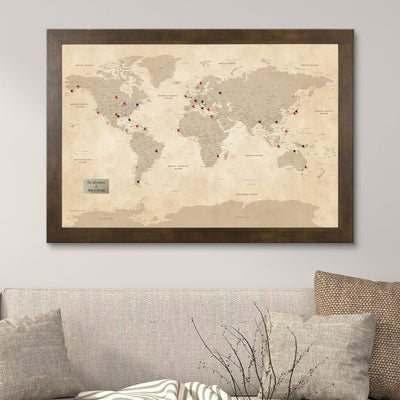 Vintage World Map with Pins in Rustic Brown Frame