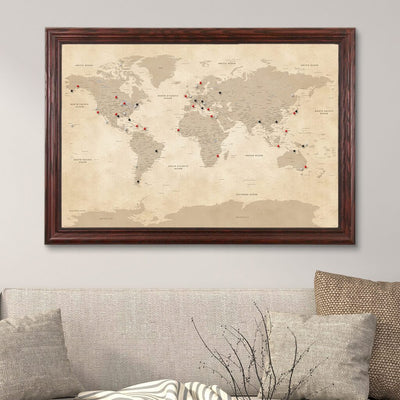 Vintage World Push Pin Map with Solid Wood Cherry Frame