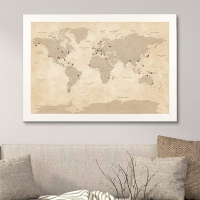 Push Pin Travel Maps Vintage World Map in Textured White Frame