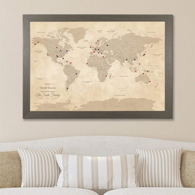 Canvas Vintage World Map with Pins in Barnwood Gray Frame