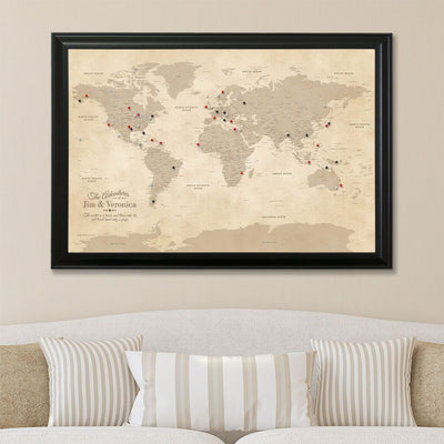 Canvas Vintage World Map with Pins Black Frame