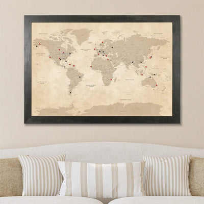 Canvas Vintage World Map with Pins with Rustic Black Frame