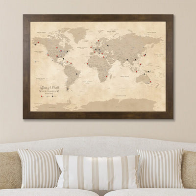 Canvas Vintage World Travelers Map with Rustic Brown Frame