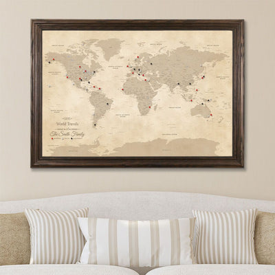 Canvas Push Pin Map - Vintage World Map in Solid Wood Brown Frame