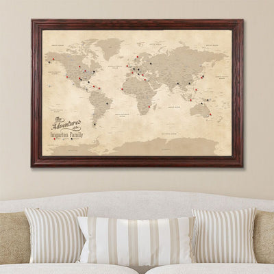 Canvas Push Pin Travel Map - Vintage World Map in Solid Wood Cherry Frame
