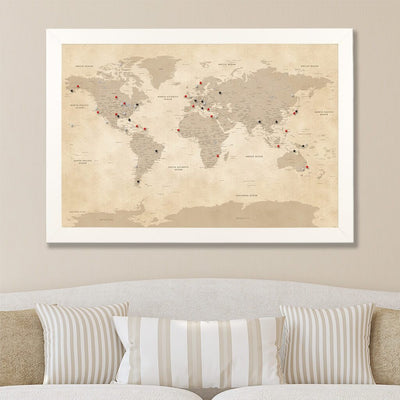 Canvas Push Pin Map - Vintage World Map in Textured White Frame