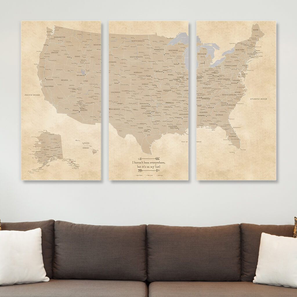 Large 3 Panel Canvas Vintage US Travel Map with Pins