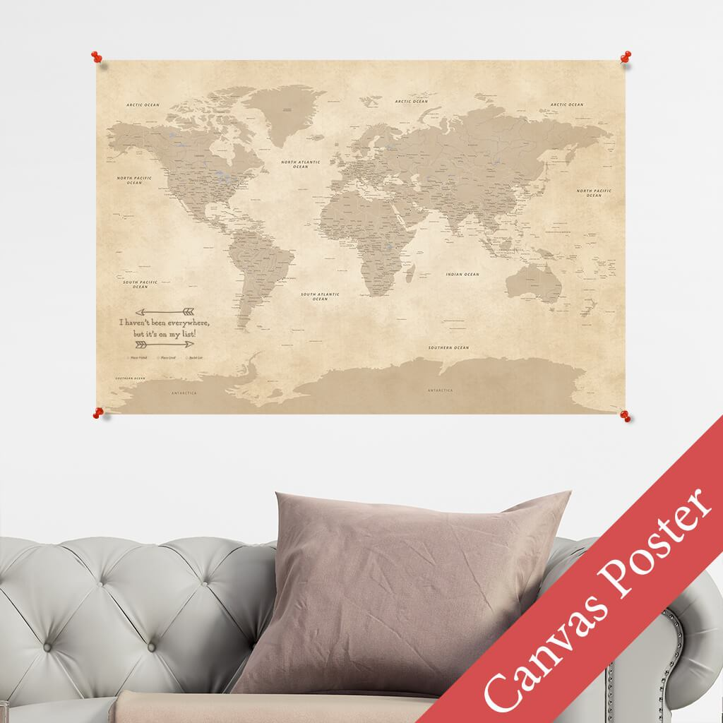Vintage World Map Canvas Poster