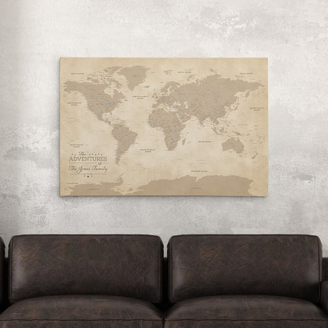 Framed and personalized world travel maps with pins canvas vintage world push pin travel map with pins sciox Images