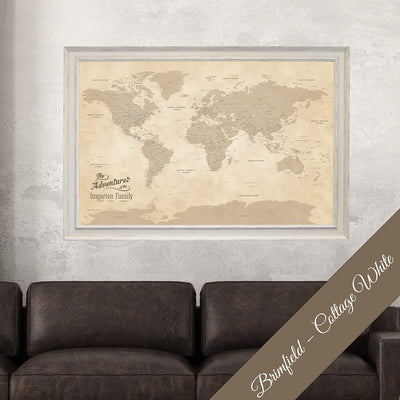 Canvas Vintage World Map with Pins Brimfield White Frame