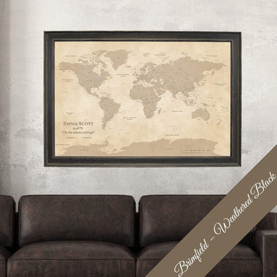 Canvas - Vintage World Push Pin Travel Map with pins