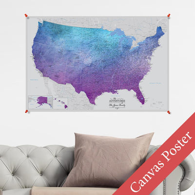 Vibrant Violet USA Canvas Poster Map