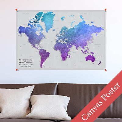Vibrant Violet World Canvas Poster Map